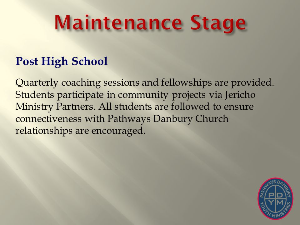 Post High School Quarterly coaching sessions and fellowships are provided. Students participate in community projects via Jericho Ministry Partners. A