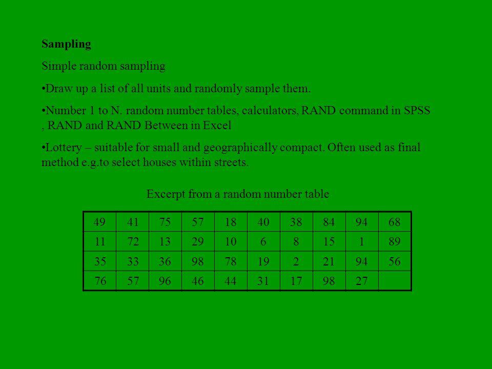 Sampling Simple random sampling Draw up a list of all units and randomly sample them. Number 1 to N. random number tables, calculators, RAND command i