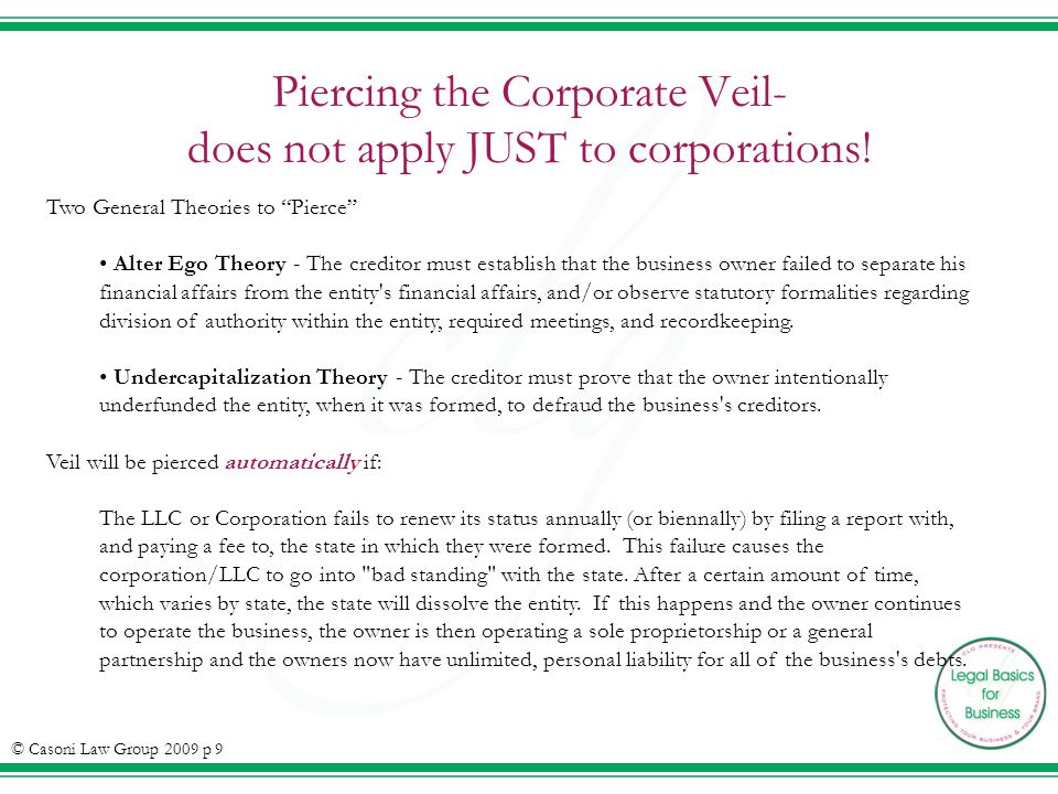 Piercing the Corporate Veil- does not apply JUST to corporations.