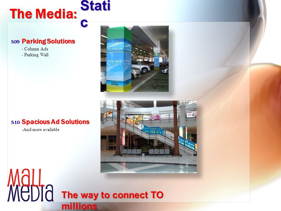 -And more available Spacious Ad Solutions The Media: Stati c S10 The way to connect TO millions - Column Ads - Parking Wall Parking Solutions S09