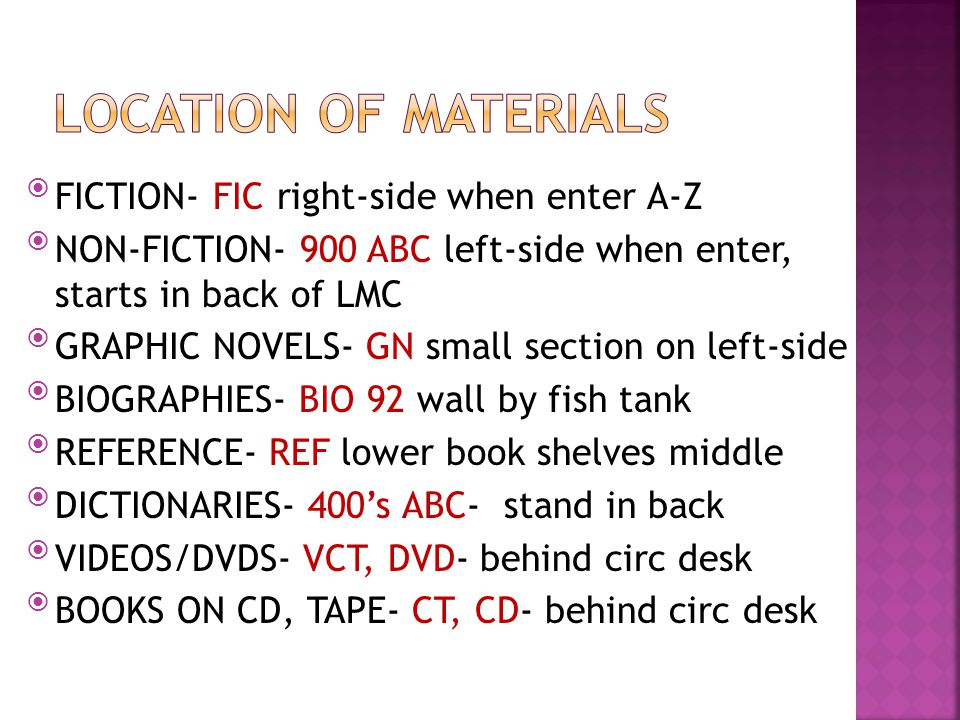 Borrowing books from other schools in the School Library System If we do not have certain material we can request from other schools Can order multipl