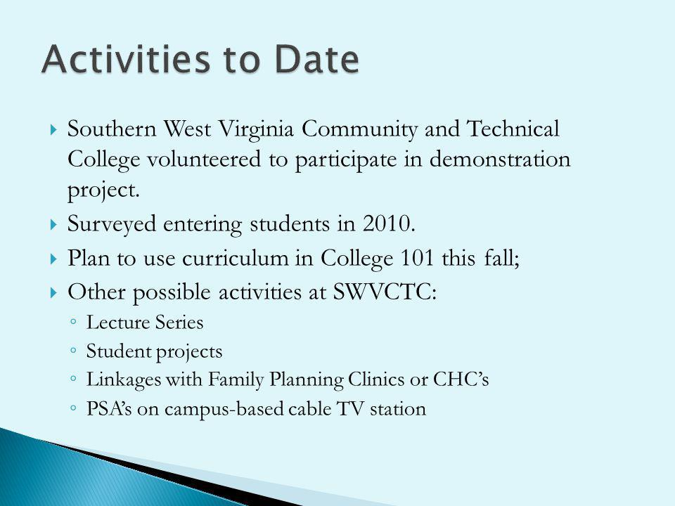 Southern West Virginia Community and Technical College volunteered to participate in demonstration project. Surveyed entering students in 2010. Plan t