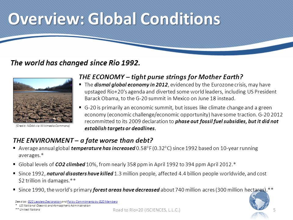 Overview: Global Conditions Road to Rio+20 (ISCIENCES, L.L.C.)5 The world has changed since Rio 1992.