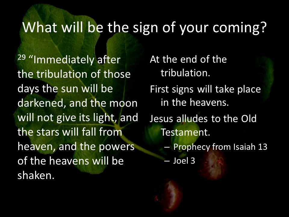 What will be the sign of your coming.