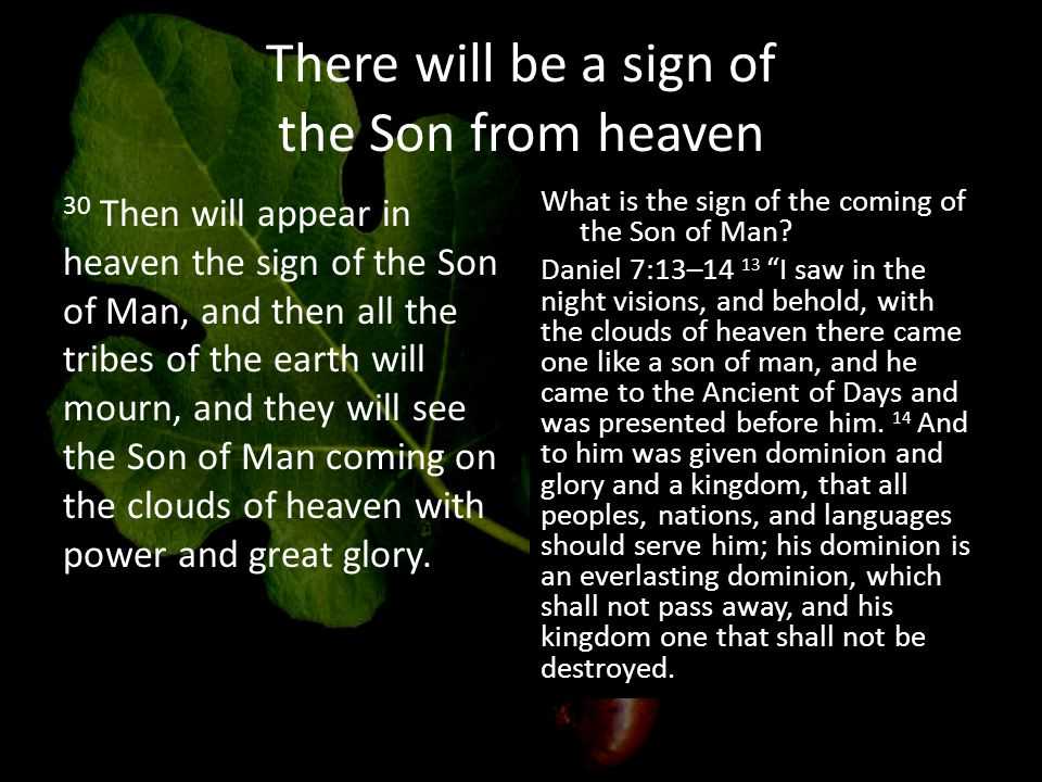 There will be a sign of the Son from heaven 30 Then will appear in heaven the sign of the Son of Man, and then all the tribes of the earth will mourn, and they will see the Son of Man coming on the clouds of heaven with power and great glory.