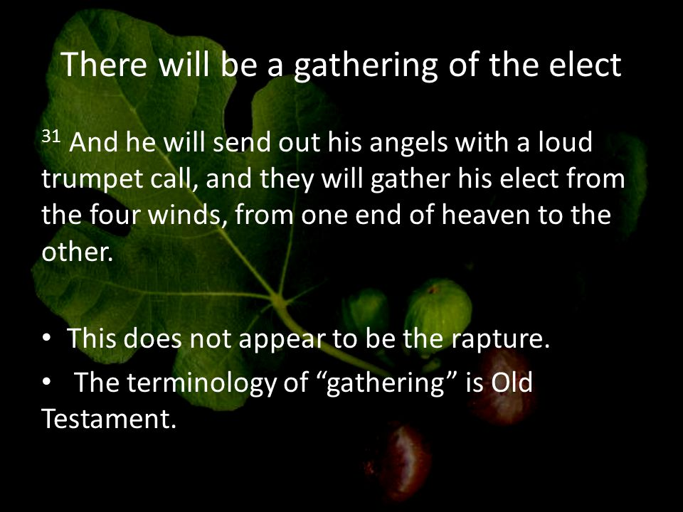 There will be a gathering of the elect 31 And he will send out his angels with a loud trumpet call, and they will gather his elect from the four winds, from one end of heaven to the other.