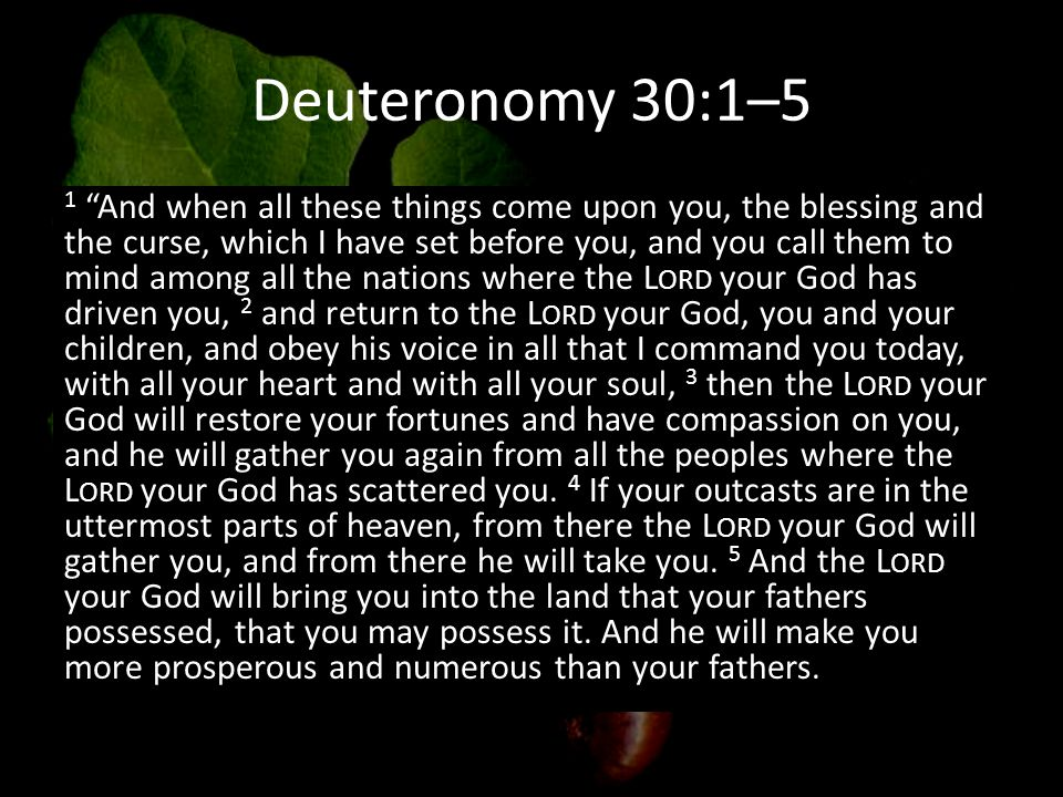 Deuteronomy 30:1–5 1 And when all these things come upon you, the blessing and the curse, which I have set before you, and you call them to mind among all the nations where the L ORD your God has driven you, 2 and return to the L ORD your God, you and your children, and obey his voice in all that I command you today, with all your heart and with all your soul, 3 then the L ORD your God will restore your fortunes and have compassion on you, and he will gather you again from all the peoples where the L ORD your God has scattered you.