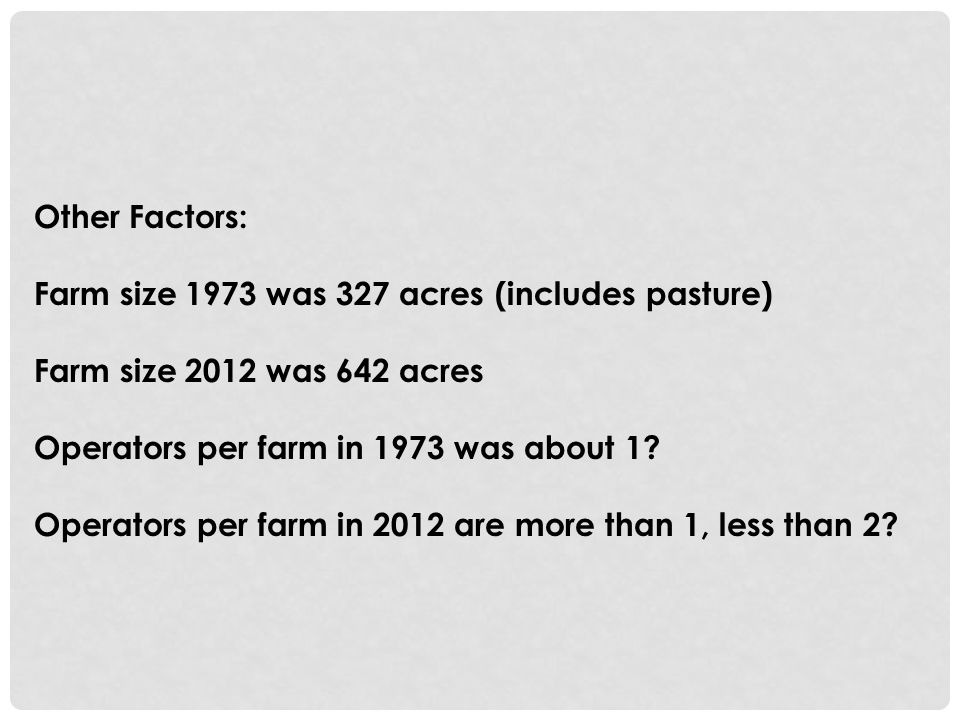 Other Factors: Farm size 1973 was 327 acres (includes pasture) Farm size 2012 was 642 acres Operators per farm in 1973 was about 1.