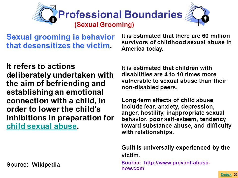 Sexual Grooming Behaviors Granting special privileges/favoring/undue interest Meeting privately in unsupervised or off-campus settings Providing rides home Offering additional, unneeded assistance Making personal, flattering comments Writing letters or e-mails Giving gifts or money Moving closer and closer physically (i.e., sitting next to student, touching student, putting hand on shoulder, putting affectionate arm around the back) Sexual misconduct with students most often doesnt just happen.