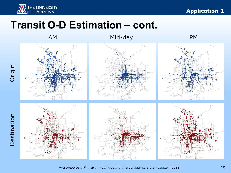Transit O-D Estimation – cont. 12 AMMid-dayPM Origin Destination Presented at 90 th TRB Annual Meeting in Washington, DC on January 2011 Application 1