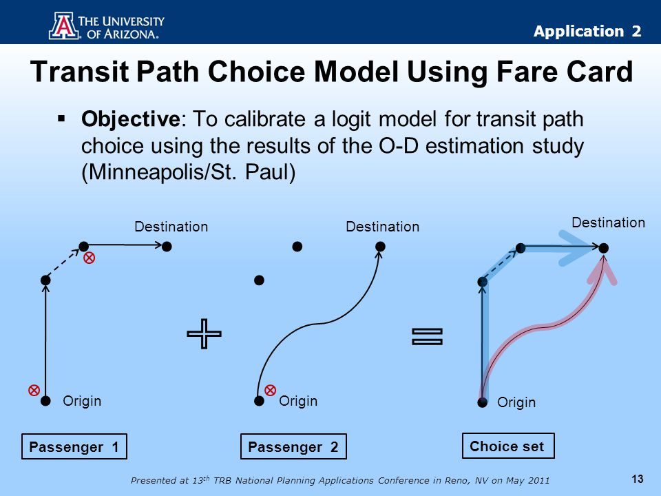 Transit Path Choice Model Using Fare Card 13 Objective: To calibrate a logit model for transit path choice using the results of the O-D estimation stu