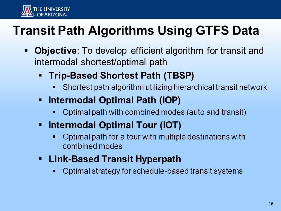 Transit Path Algorithms Using GTFS Data 16 Objective: To develop efficient algorithm for transit and intermodal shortest/optimal path Trip-Based Short