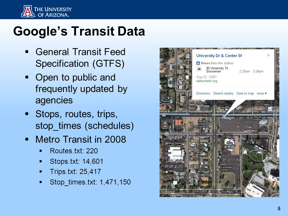 Googles Transit Data 5 General Transit Feed Specification (GTFS) Open to public and frequently updated by agencies Stops, routes, trips, stop_times (s