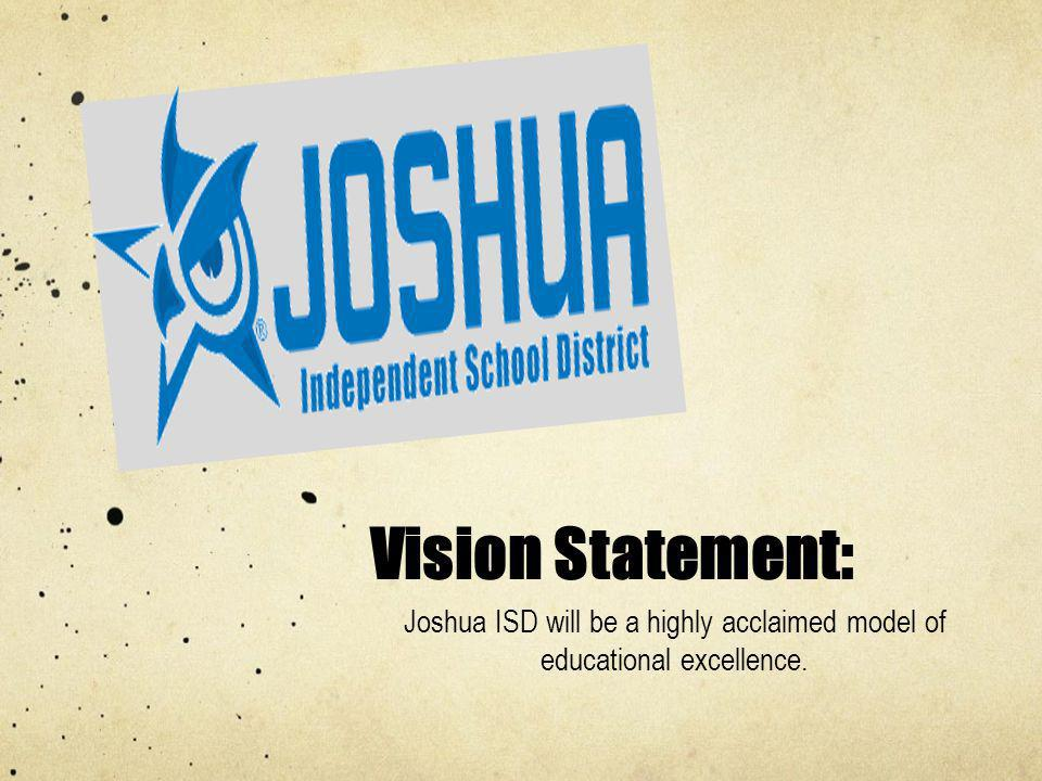 Vision Statement: Joshua ISD will be a highly acclaimed model of educational excellence.
