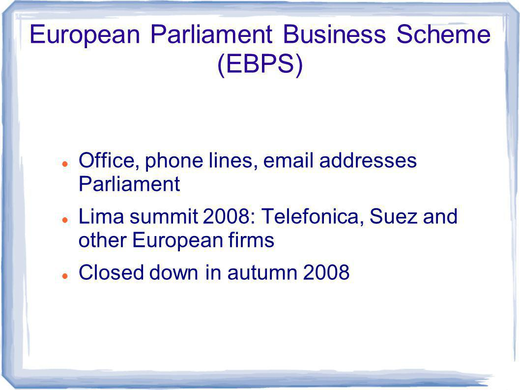 European Parliament Business Scheme (EBPS) Office, phone lines, email addresses Parliament Lima summit 2008: Telefonica, Suez and other European firms Closed down in autumn 2008