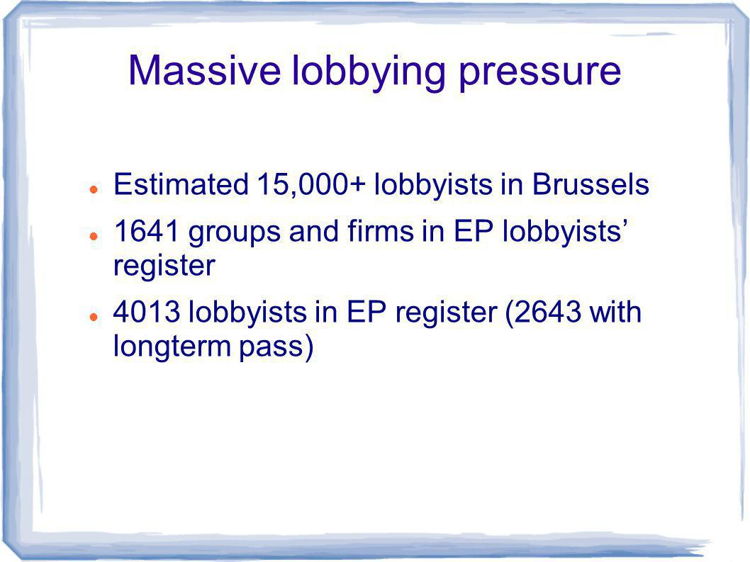 Massive lobbying pressure Estimated 15,000+ lobbyists in Brussels 1641 groups and firms in EP lobbyists register 4013 lobbyists in EP register (2643 with longterm pass)