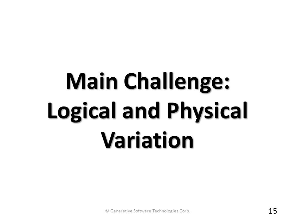 Main Challenge: Logical and Physical Variation 15 © Generative Software Technologies Corp.