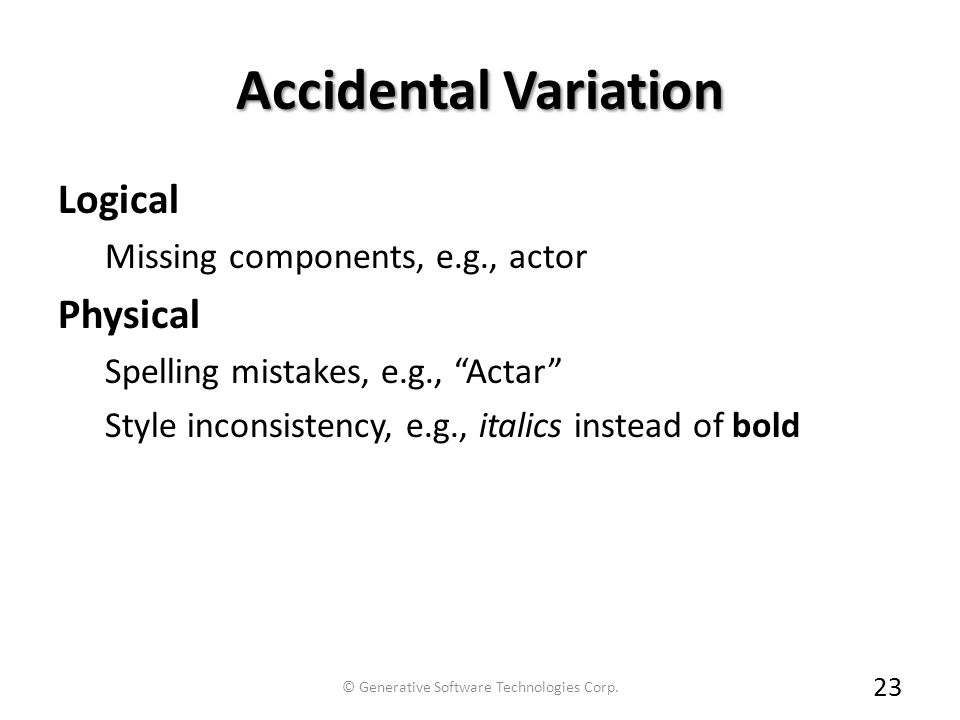Accidental Variation Logical Missing components, e.g., actor Physical Spelling mistakes, e.g., Actar Style inconsistency, e.g., italics instead of bold 23 © Generative Software Technologies Corp.