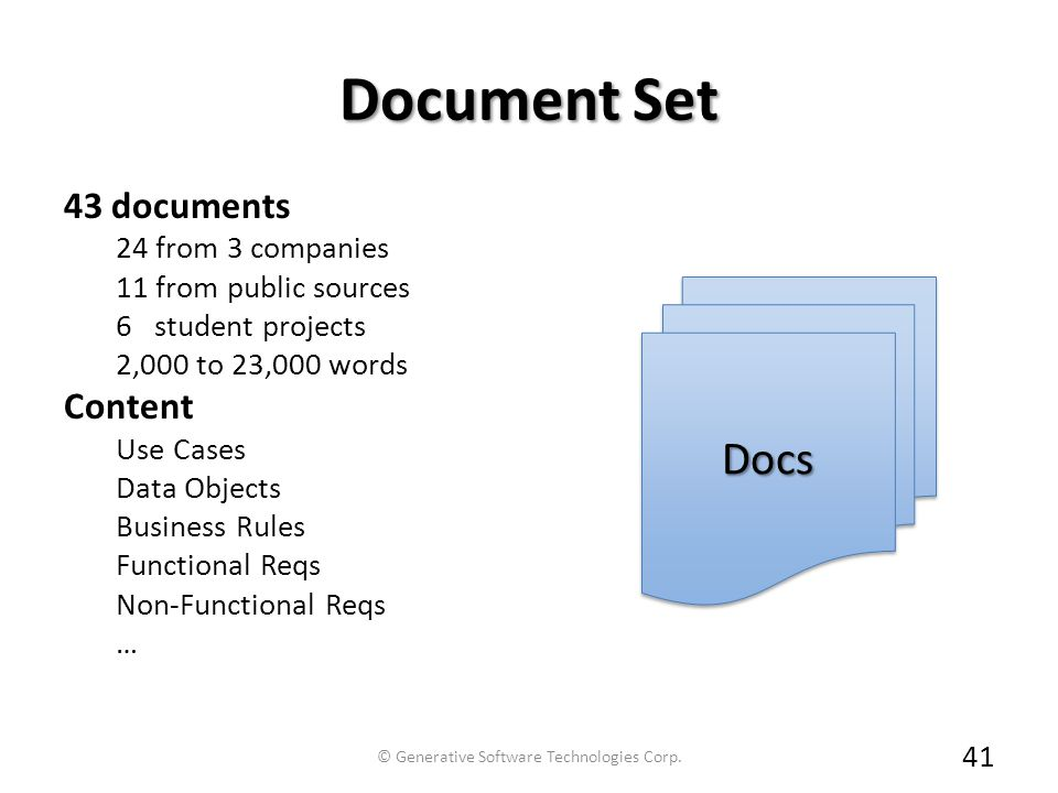 Document Set 43 documents 24 from 3 companies 11 from public sources 6 student projects 2,000 to 23,000 words Content Use Cases Data Objects Business