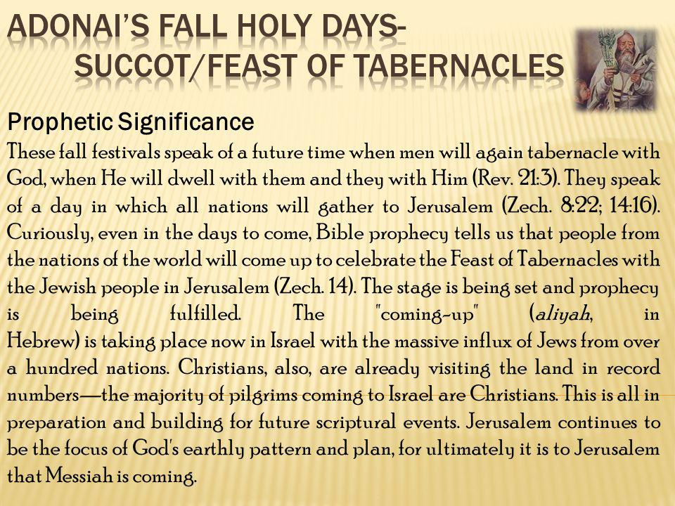 Prophetic Significance These fall festivals speak of a future time when men will again tabernacle with God, when He will dwell with them and they with