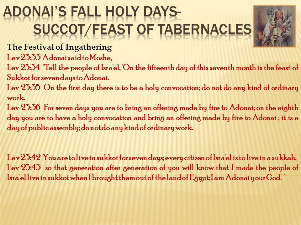 The Festival of Ingathering Lev 23:33 Adonai said to Moshe, Lev 23:34