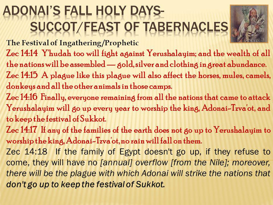 The Festival of Ingathering /Prophetic Zec 14:14 Y'hudah too will fight against Yerushalayim; and the wealth of all the nations will be assembled gold