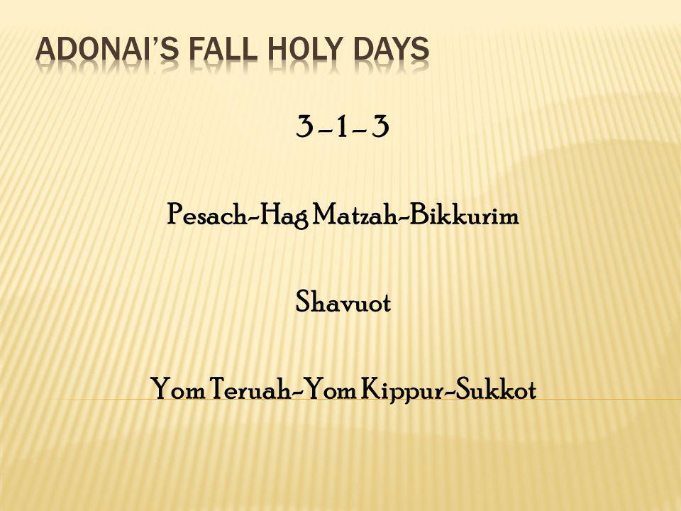 3 – 1 – 3 Pesach-Hag Matzah-Bikkurim Shavuot Yom Teruah-Yom Kippur-Sukkot