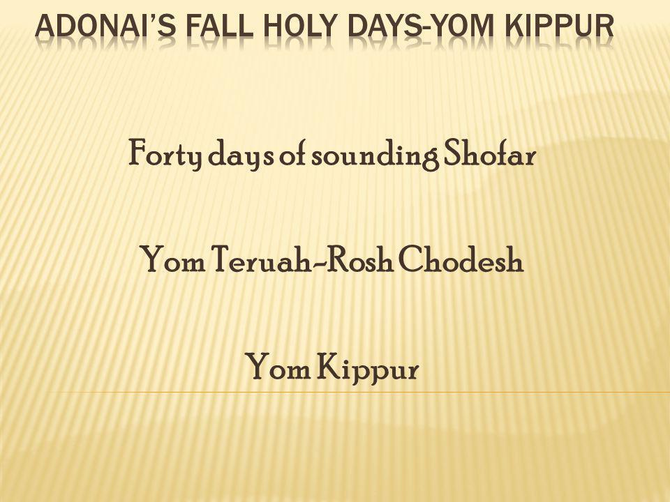 Forty days of sounding Shofar Yom Teruah-Rosh Chodesh Yom Kippur