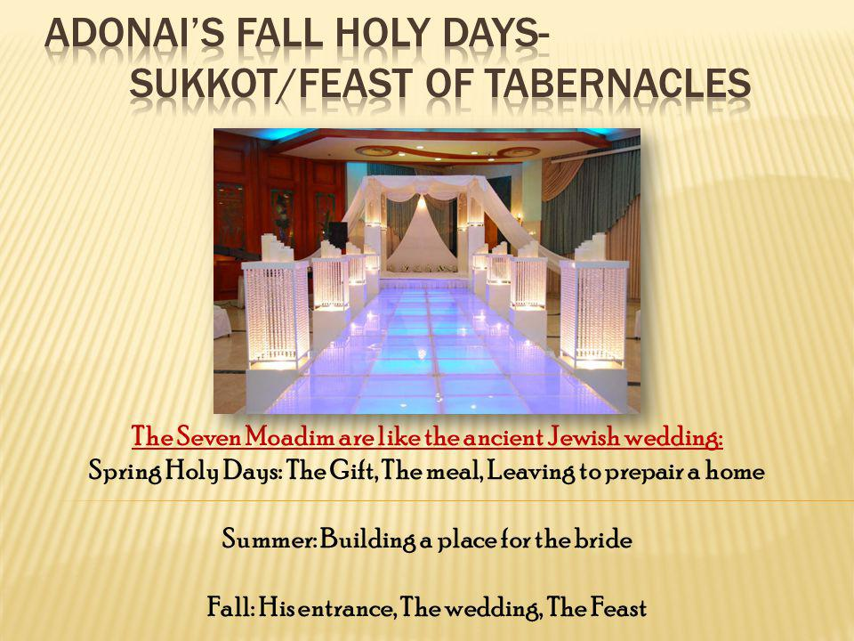 The Seven Moadim are like the ancient Jewish wedding: Spring Holy Days: The Gift, The meal, Leaving to prepair a home Summer: Building a place for the