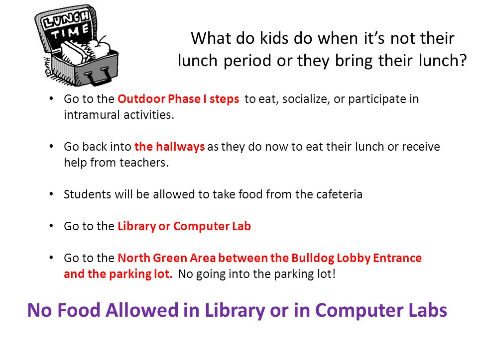 What do kids do when its not their lunch period or they bring their lunch? Go to the Outdoor Phase I steps to eat, socialize, or participate in intram