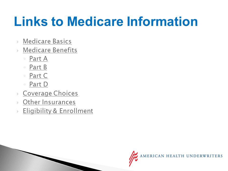 Medicare Basics Medicare Benefits Part A Part B Part C Part D Coverage Choices Other Insurances Eligibility & Enrollment Links to Medicare Information