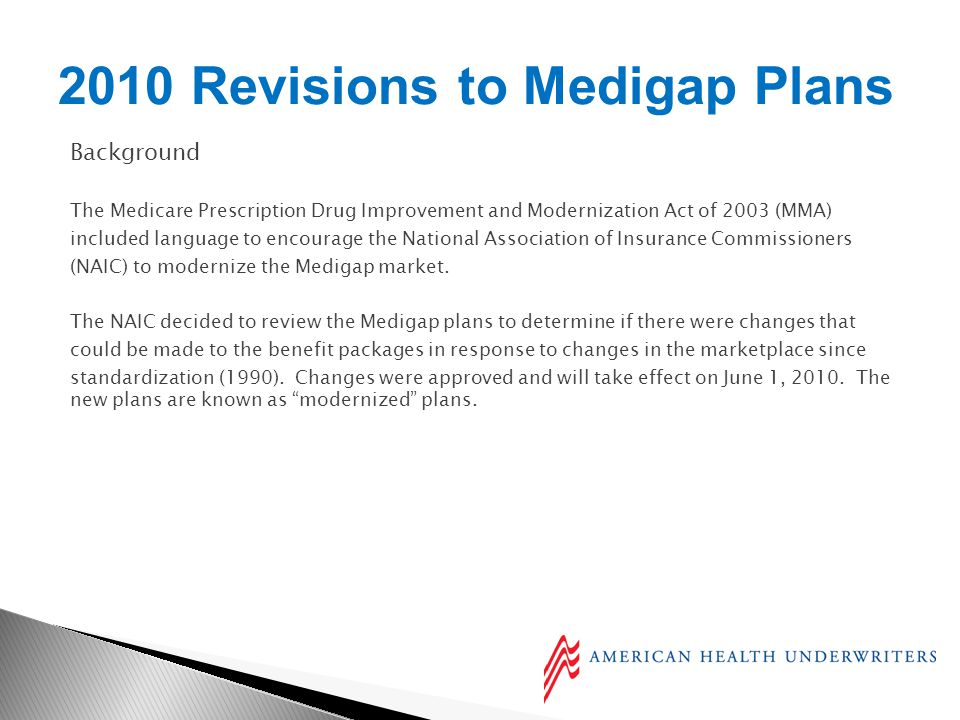 Background The Medicare Prescription Drug Improvement and Modernization Act of 2003 (MMA) included language to encourage the National Association of Insurance Commissioners (NAIC) to modernize the Medigap market.