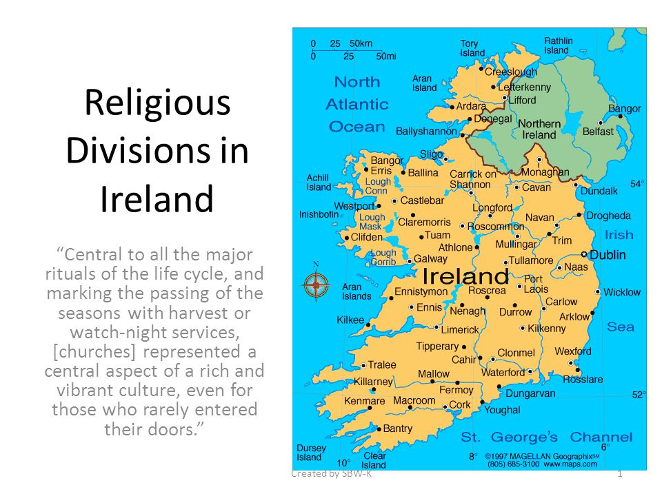 Religious Divisions in Ireland Central to all the major rituals of the life cycle, and marking the passing of the seasons with harvest or watch-night services, [churches] represented a central aspect of a rich and vibrant culture, even for those who rarely entered their doors.