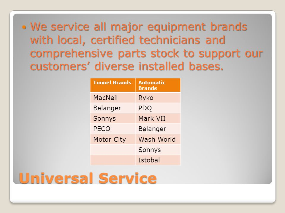 Universal Service We service all major equipment brands with local, certified technicians and comprehensive parts stock to support our customers diverse installed bases.