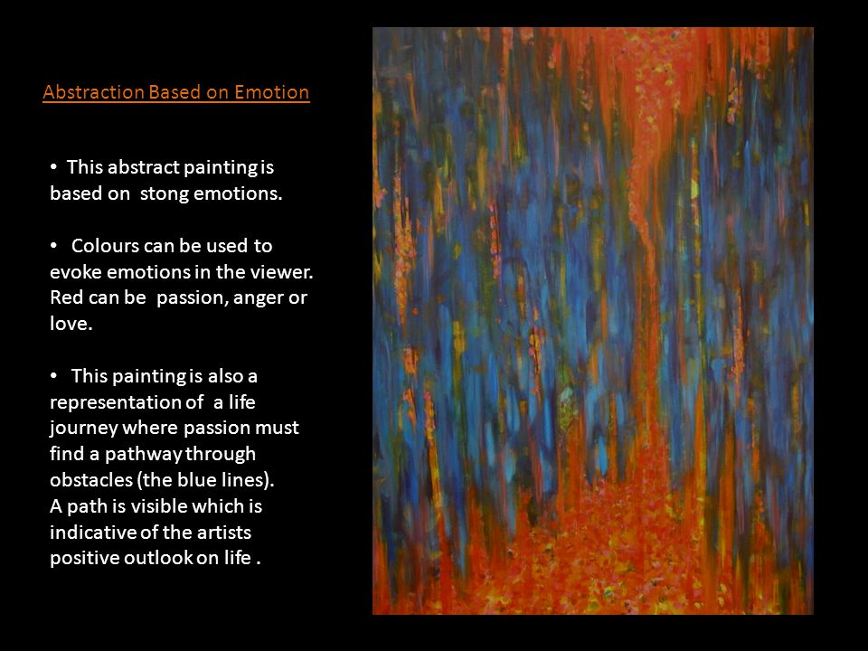 Abstraction Based on Emotion This abstract painting is based on stong emotions.