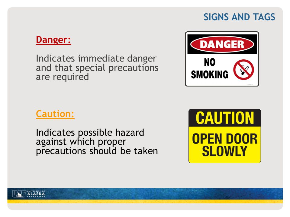 Danger: Indicates immediate danger and that special precautions are required Caution: Indicates possible hazard against which proper precautions shoul