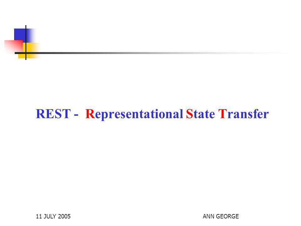 11 JULY 2005ANN GEORGE REST - Representational State Transfer