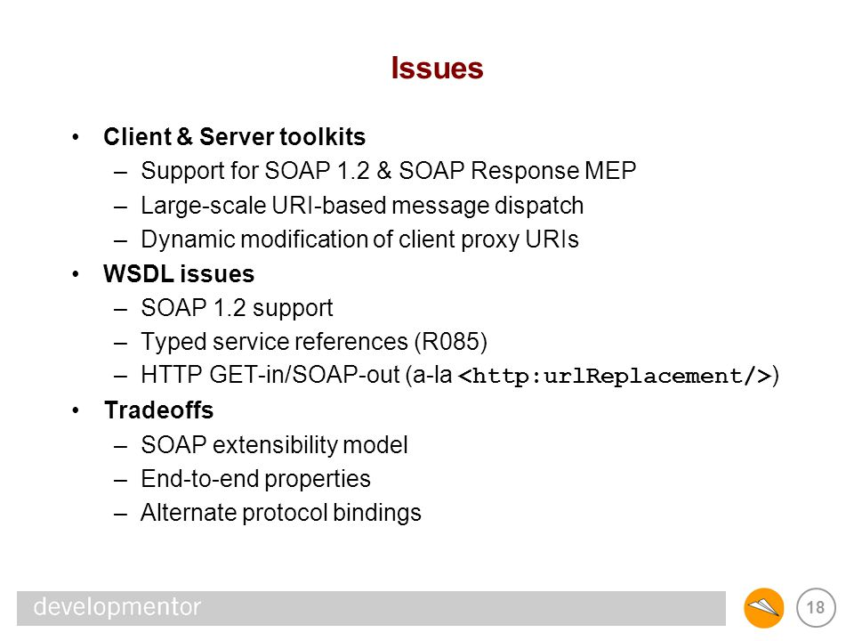 18 Issues Client & Server toolkits –Support for SOAP 1.2 & SOAP Response MEP –Large-scale URI-based message dispatch –Dynamic modification of client p