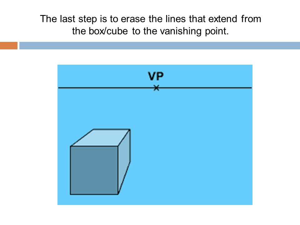 The last step is to erase the lines that extend from the box/cube to the vanishing point.