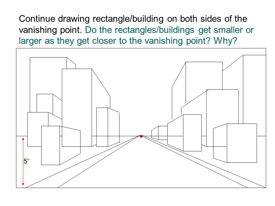 5 Continue drawing rectangle/building on both sides of the vanishing point. Do the rectangles/buildings get smaller or larger as they get closer to th