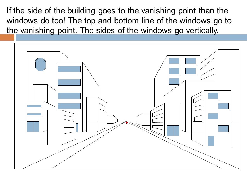 If the side of the building goes to the vanishing point than the windows do too! The top and bottom line of the windows go to the vanishing point. The