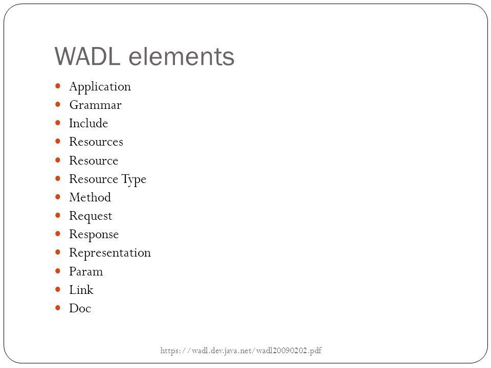 WADL elements Application Grammar Include Resources Resource Resource Type Method Request Response Representation Param Link Doc https://wadl.dev.java