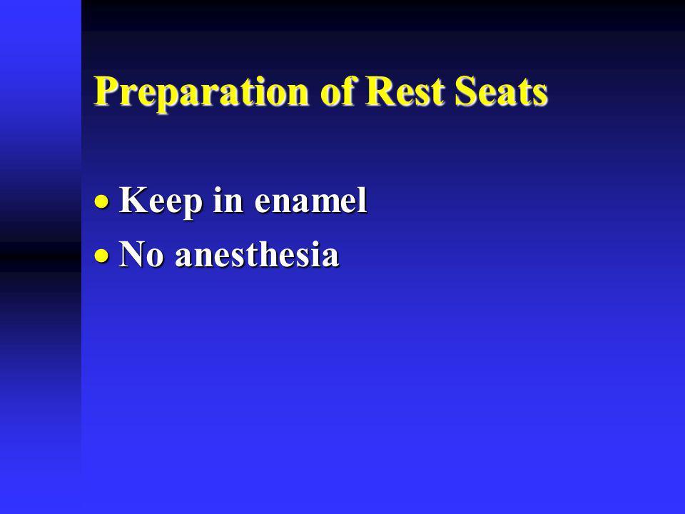 Preparation of Rest Seats Keep in enamel Keep in enamel No anesthesia No anesthesia