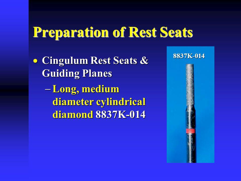 Preparation of Rest Seats Cingulum Rest Seats & Guiding Planes Cingulum Rest Seats & Guiding Planes Long, medium diameter cylindrical diamond 8837K-01