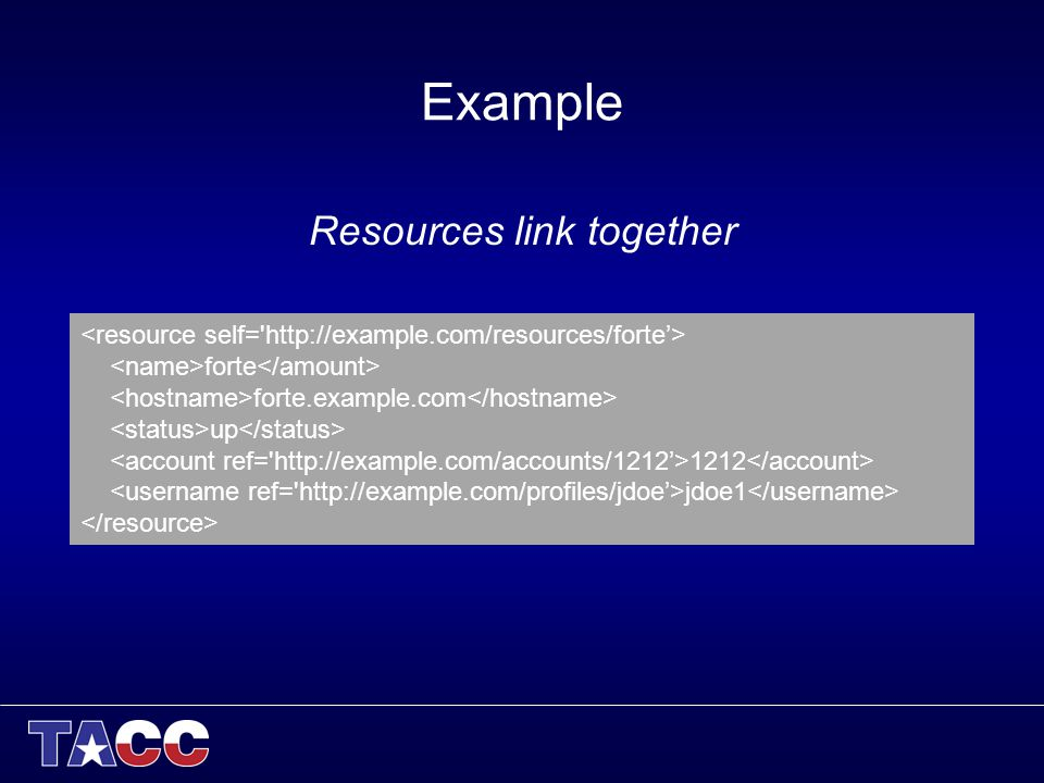 Example Resources link together forte forte.example.com up 1212 jdoe1