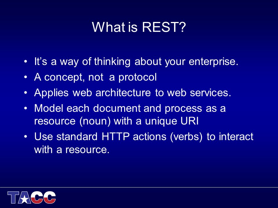 What is REST. Its a way of thinking about your enterprise.