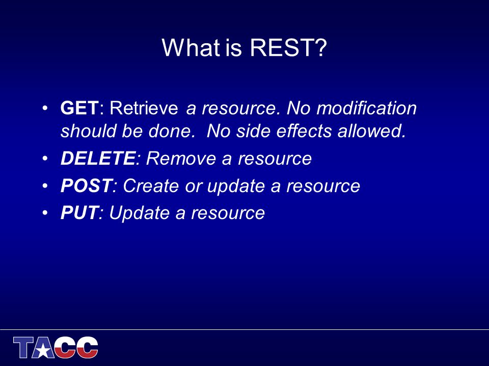 What is REST. GET: Retrieve a resource. No modification should be done.