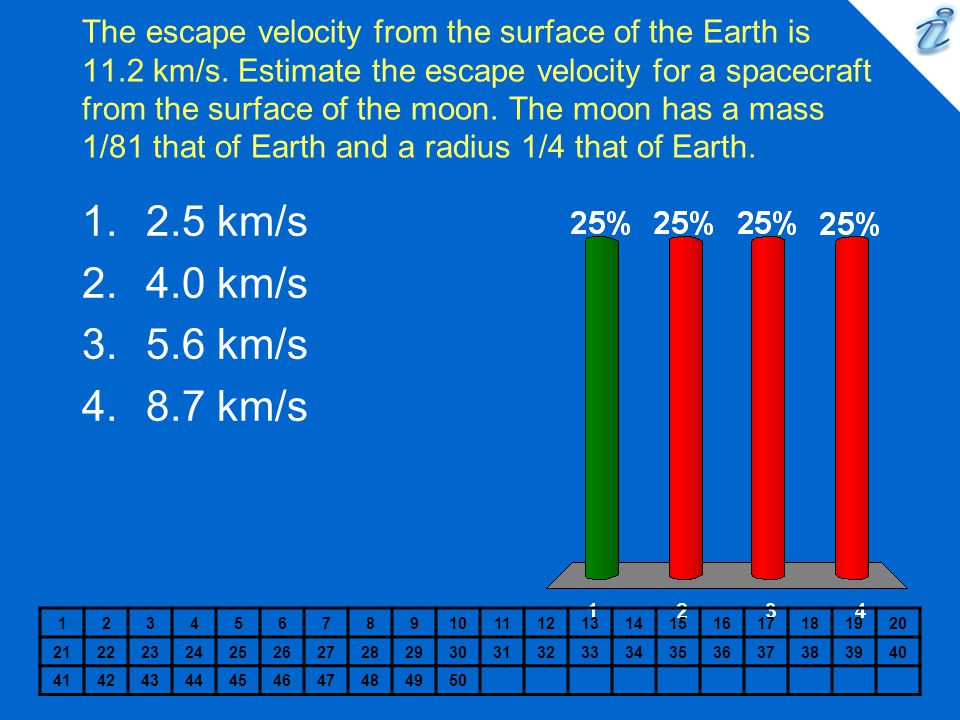 The escape velocity from the surface of the Earth is 11.2 km/s. Estimate the escape velocity for a spacecraft from the surface of the moon. The moon h