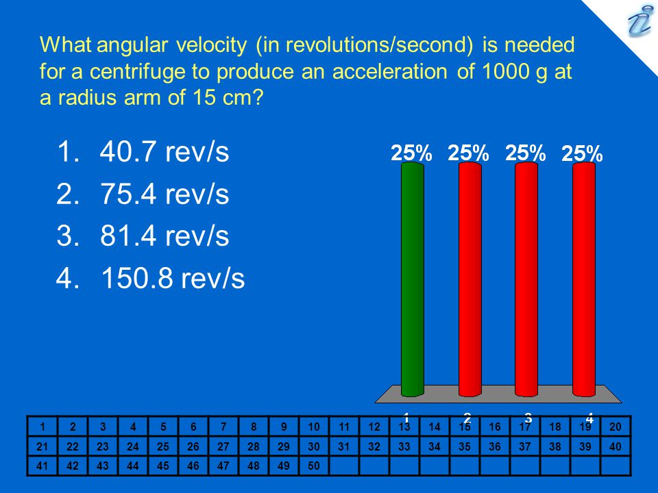 What angular velocity (in revolutions/second) is needed for a centrifuge to produce an acceleration of 1000 g at a radius arm of 15 cm? 12345678910111