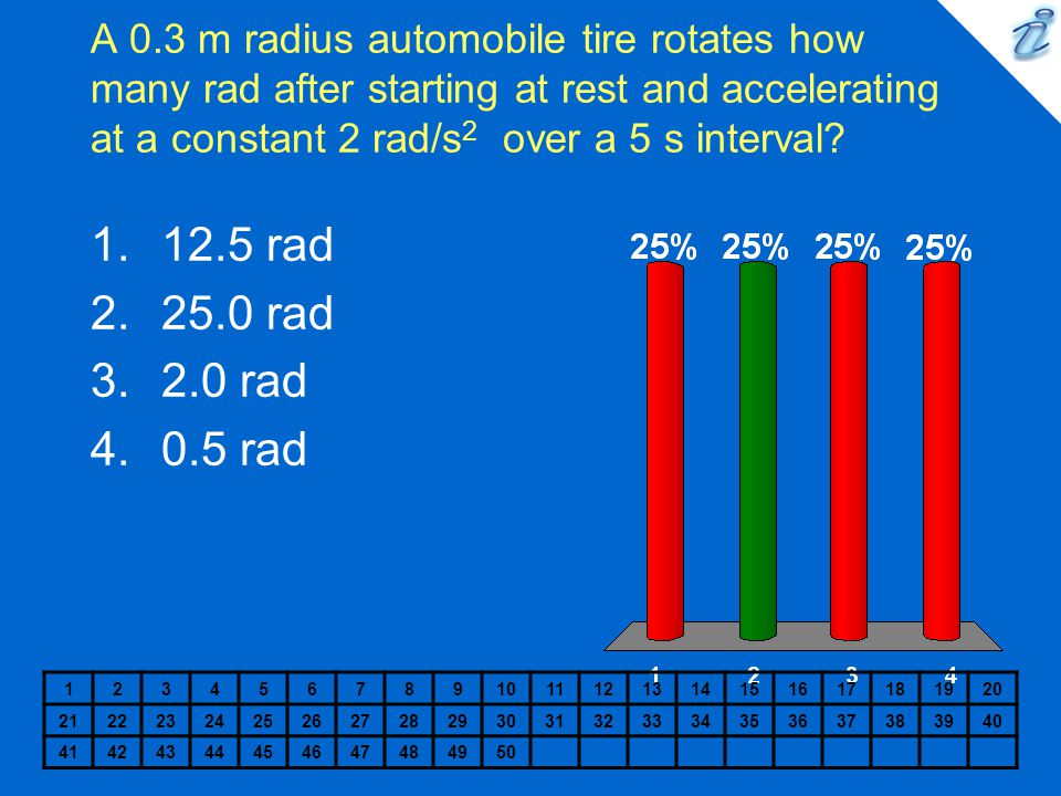 A 0.3 m radius automobile tire rotates how many rad after starting at rest and accelerating at a constant 2 rad/s 2 over a 5 s interval? 1234567891011